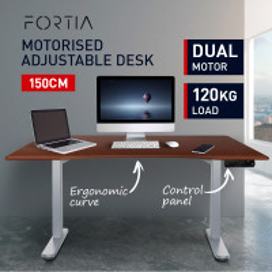 FORTIA Sit/Stand Motorised Curve Height Adjustable Desk 150cm Walnut/Silver