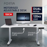 FORTIA Sit/Stand Motorised Curve Height Adjustable Desk 150cm Matte White/Silver
