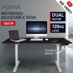 FORTIA Sit/Stand Motorised Height Adjustable Desk 160cm Black/White