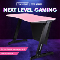 OVERDRIVE Gaming Computer PC Desk Z-Style, Pink and Black, Cable Management