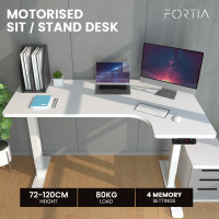 FORTIA Height Adjustable Right-Hand Sided Motorised Standing Computer Corner Desk, White