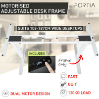 PRE-ORDER FORTIA Frame Only Sit/Stand Height Adjustable Standing Desk Motorised White