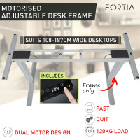 FORTIA Frame Only Sit/Stand Height Adjustable Standing Desk Motorised Silver