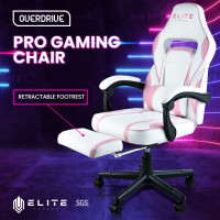 OVERDRIVE Elite Reclining Gaming Chair with Footrest, Pink and White
