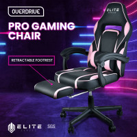 OVERDRIVE Elite Reclining Gaming Chair with Footrest, Pink and Black