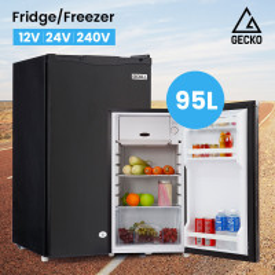 GECKO 95L Portable Upright Fridge and Freezer 12V/24V/240V for Camping, Caravans, Black