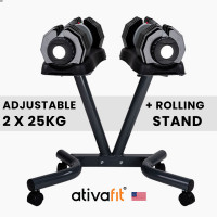 ATIVAFIT 2 x 25kg Adjustable Weight Dumbbell Set with Rolling Stand for Home Gym Fitness Training