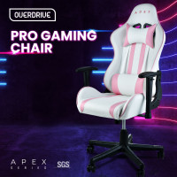 PRE-ORDER OVERDRIVE Apex Reclining Gaming Chair with Neck and Lumbar Cushions, White and Pink