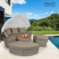 LONDON RATTAN Outdoor Day Bed 4-Piece Set, Wicker, White Canopy