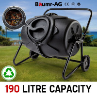 190L Aerated Compost Tumbler Bin Food Waste Garden Recycling Composter