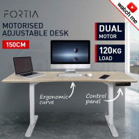 FORTIA Sit/Stand Motorised Curve Height Adjustable Desk 150cm Oak/White