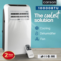 CARSON Portable Air Conditioner - Mobile Fan Cooler Dehumidifier Aircon
