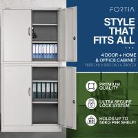 Fortia Grey 4 Door Steel Stationery Office Storage Cabinet