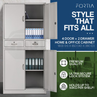 Fortia Grey 4 Door 2 Drawer Steel Stationery Office Storage Cabinet