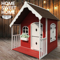 ROVO KIDS Cubby House Wooden Cottage Outdoor Furniture Playhouse Children Toy