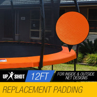 UP-SHOT 12ft Trampoline Replacement Padding Orange Inside/Outside Net Design