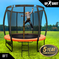 UP-SHOT 8ft Round Kids Curved Pole Spring Trampoline