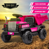 ROVO KIDS Electric Ride On Toy Dump Truck with Bluetooth Music - Pink