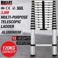 3.8m Telescopic Aluminium Ladder Alloy Extension Extendable Steps Multi Portable