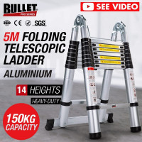 5m Telescopic Aluminium Multipurpose Ladder Extension Alloy Extendable Step AUS