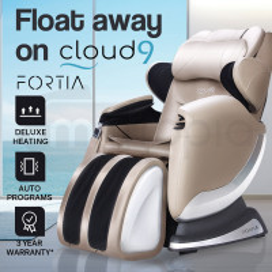 FORTIA Electric Massage Chair Full Body Reclining Zero Gravity Kneading Back in Cream