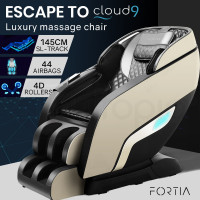 FORTIA Electric Full Body Zero Gravity Massage Recliner Chair with Heat and Bluetooth Black/Cream