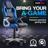 OVERDRIVE Racing Office Chair - Computer Seat Gaming Executive Deluxe PU Leather