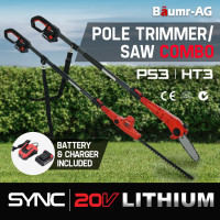 PRE-ORDER BAUMR-AG Cordless 2 in 1 Pole Chainsaw and Hedge Trimmer Combo Kit, with 20V SYNC Battery and Charger