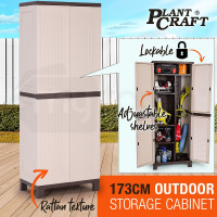 PlantCraft 171cm Outdoor Storage Cabinet Tool Backyard Shed - Cream