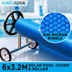 AURELAQUA Solar Swimming Pool Cover + Roller Wheel Adjustable 500 Bubble 6 x 3.2