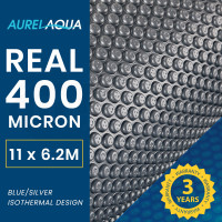 AURELAQUA Solar Swimming Pool Cover 400 Micron Heater Bubble Blanket 11x6.2m Blue and Silver