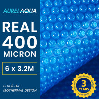 AURELAQUA Solar Swimming Pool Cover 400 Micron Heater Bubble Blanket 6x3.2m Blue