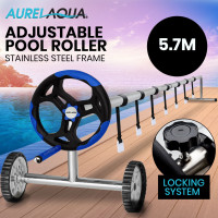 Aurelaqua 5.7m Swimming Pool Cover Roller with Black/Blue Handle