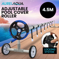 Aurelaqua 4.5m Swimming Pool Cover Roller with Black/Blue Handle
