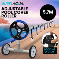 Aurelaqua 5.7m Swimming Pool Cover Roller with Steel Frame and Black/Blue Handle