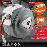 UNIMAC 10m Retractable Air Hose Reel Compressor Wall Mounted Auto Rewind
