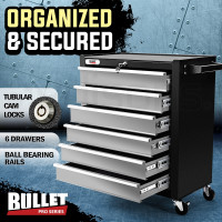 BULLET 6 Drawer Tool Box Cabinet Trolley Garage Toolbox Storage Mechanic Chest Black and Silver
