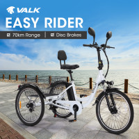VALK 250W 10Ah Electric Tricycle, Shimano Gears, Disc Brakes, Side Mirrors, for Adults Seniors - White