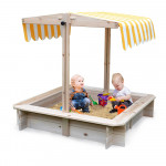 ROVO KIDS Sandpit Toy Box Canopy Wooden Outdoor Sand Pit Children Play Cover