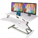 FORTIA Laptop Sit/Stand Height Adjustable Riser Desk 83cm White