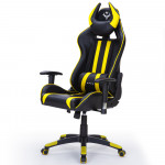 OVERDRIVE Diablo Reclining Gaming Chair with Neck and Lumbar Cushions, Black and Yellow