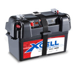 X-CELL Battery Box for Deep Cycle Batteries, with 12V and 2x USB, for Caravan Camper Trailer Boat