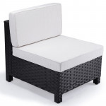 LONDON RATTAN Modular Outdoor Lounge Chair 1pc Wicker Black Light Grey