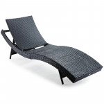 LONDON RATTAN Outdoor Sun Lounge Wicker Day Bed Furniture Pool Chair Sofa Curved Black