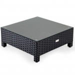 LONDON RATTAN Coffee Table Outdoor Lounge Furniture 1pc Wicker Black