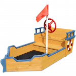 Kids Boat Sandpit - Wooden Outdoor Play Sand Pit Children Toy Box Large