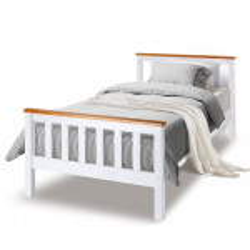 Single Wooden Bed Frame Base White Timber Kids Adults Modern Bedroom Furniture