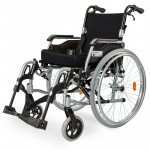 """EQUIPMED 24"""" Folding Wheelchair Alloy with Brakes Folding Armrests for Dining"""