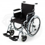 EQUIPMED 24 Inch Folding Wheelchair with Park Brakes Folding Armrests for Dining