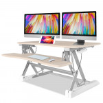 FORTIA Computer Desktop Sit/Stand Height Adjustable Riser 90cm Beech